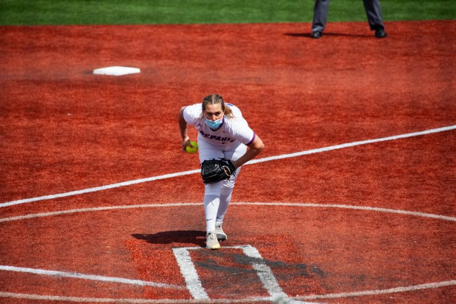 DePaul senior pitcher Krista Dalgarn winds up for a pitch during a game this season. In 13 appearances, Dalgran is 11-2 and has two saves with a 3.02 ERA.