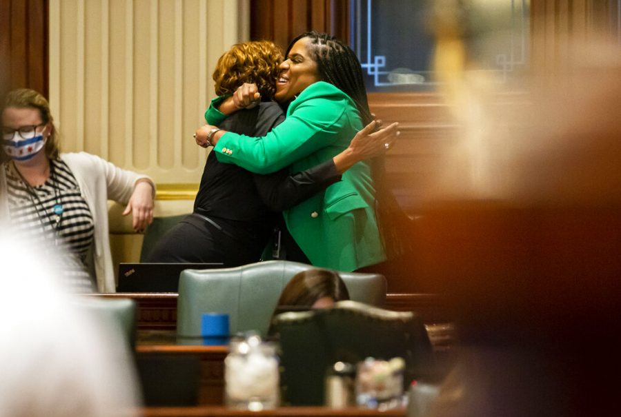 Illinois+State+Rep.+Jehan+Gordon-Booth%2C+D-Peoria%2C+right%2C+hugs+Illinois+State+Rep.+Camille+Lilly%2C+D-Chicago%2C+as+they+celebrate+the+passage+of+Senate+Bill+818%2C+the+bill+to+update+sex+education+standards+in+Illinois%2Con+the+floor+of+the+Illinois+House+of+Representatives+at+the+Illinois+State+Capitol+in+Springfield%2C+Ill.%2C+Friday%2C+May+28%2C+2021.+%28Justin+L.+Fowler%2FThe+State+Journal-Register+via+AP%29