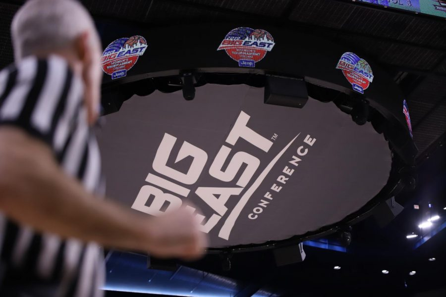 Big East conference logo displayed in place of the DePaul Athletics logo underneath the jumbotron for the Big East Championship at Wintrust Arena.