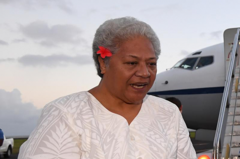 Then Deputy Prime Minister of Samoa Fiame Naomi Mata'afa speaks with Australian Prime Minister Malcolm Turnbull and the Australian High Commissioner to Samoa Sue Langford as they arrive at Faleolo Airport in Apia, Samoa on Sept. 8, 2017. More than three months after winning an election which sparked a constitutional crisis, Samoa