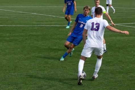 DePaul forward Marek Gonda marks a St. Thomas player during Thursday