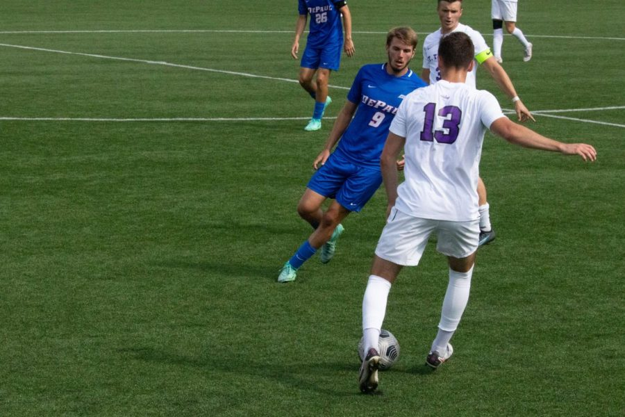 DePaul forward Marek Gonda marks a St. Thomas player during Thursdays game.