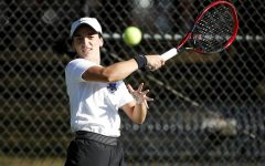 Valentina Martin, who is involved with NIL, hitting a ball at a competition last season.  Credit: Steve Woltmann/DePaul Athletics