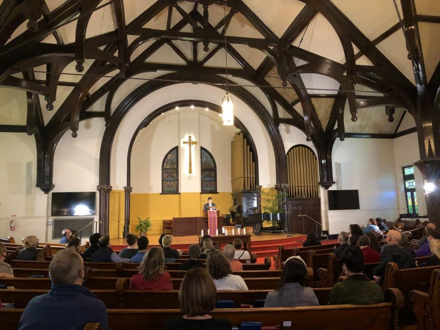 Rev. Beth Brown speaks to the congretation at Lincoln Park Presberterian Churchs Vigil Against Violence.