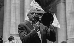 Donziger in New York speaking at a street rally.