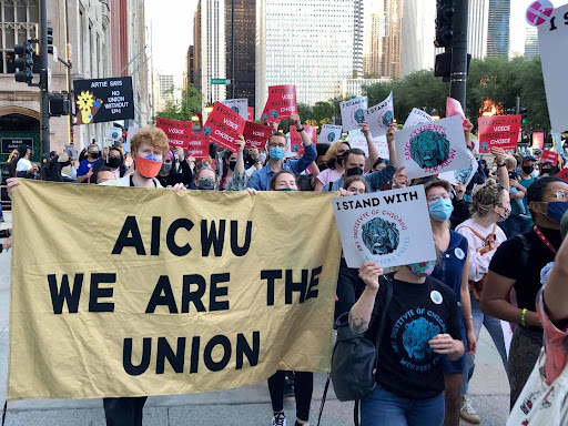 Art Institute employees and supporters gather outside the museum to advocate for the unionization movement on Sept. 9, 2021. (Courtesy of art institute of chicago Workers United Facebook)